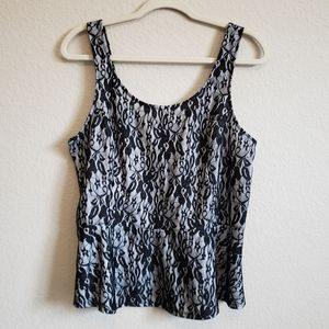 Express Lace Zip Back Black and White Tank Blouse